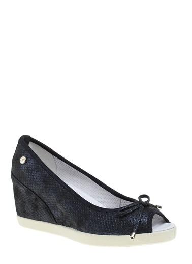 Divarese Deri Dolgu Topuklu Ayakkabı Lacivert